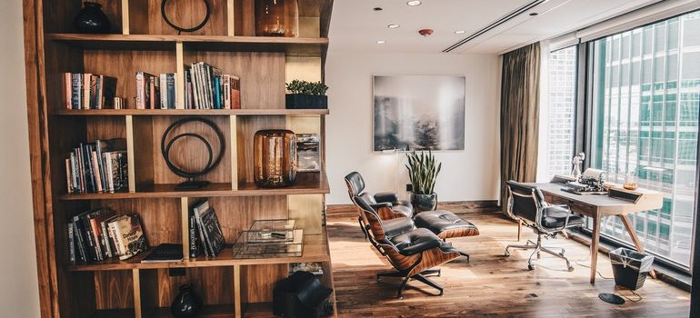 Furniture in a room.