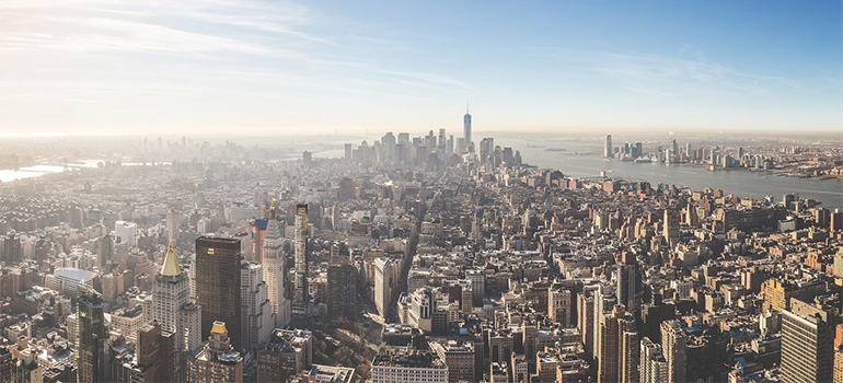 An aerial view of NYC