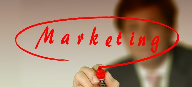 marketing written with red pen