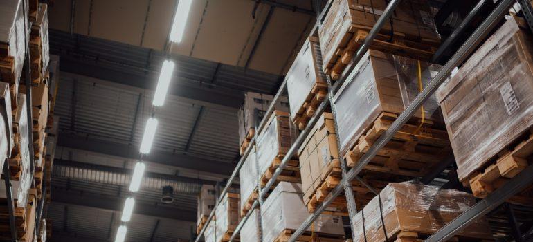 Stored goods inside a warehouse
