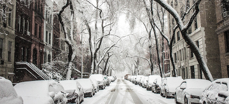 NYC street covered in snow