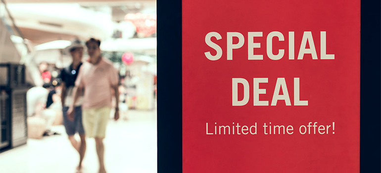 A 'special deal' sign