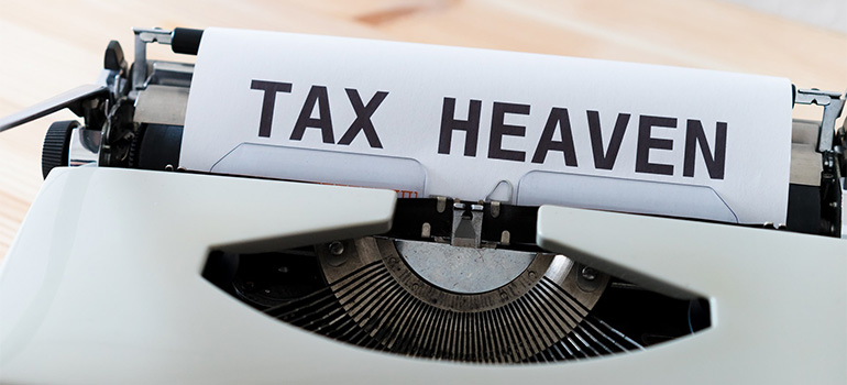 Tax Heaven written on a type machine