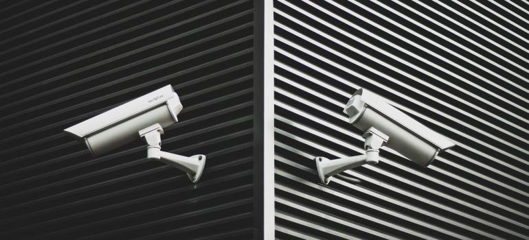 video surveillance cameras on the wall