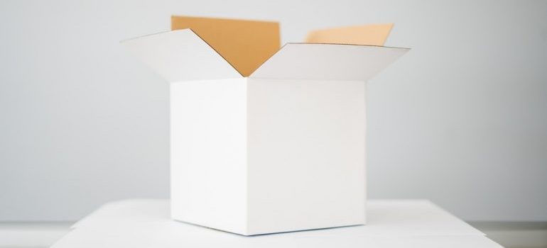 A moving box made of cardboard