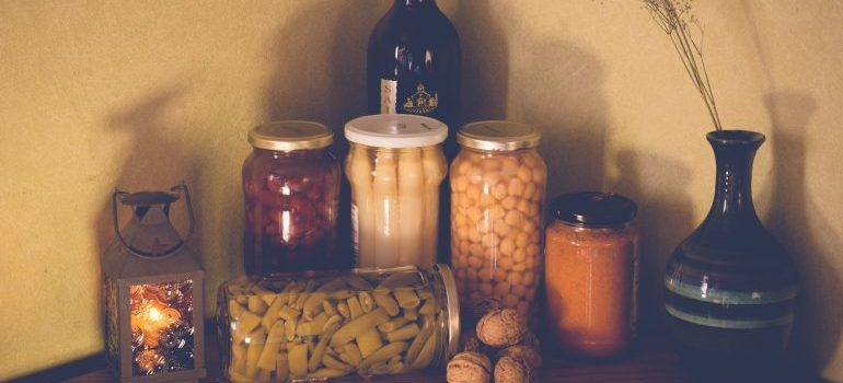 Items you shouldn't store at home are canned food.