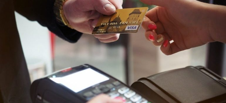 -man paying with a card